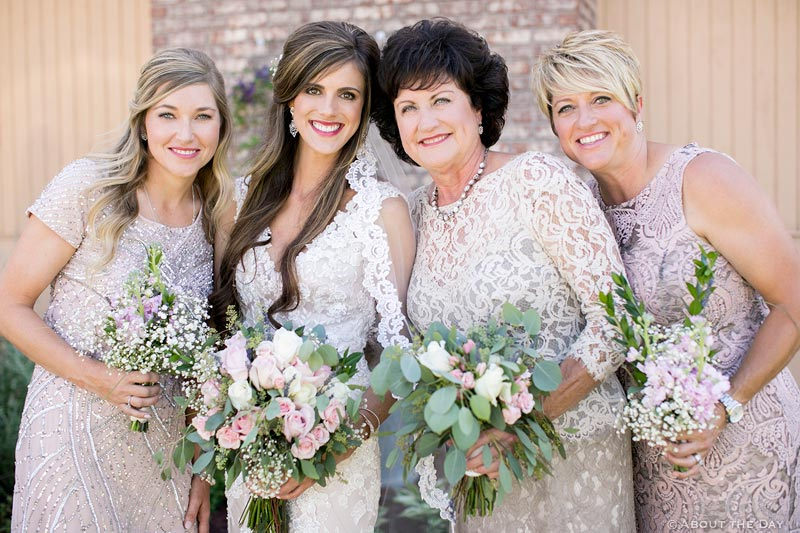 Bride and her relative bridesmaids