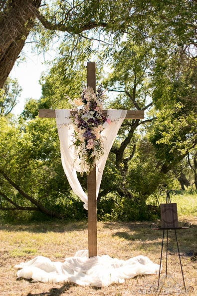 Christian cross at wedding ceremony