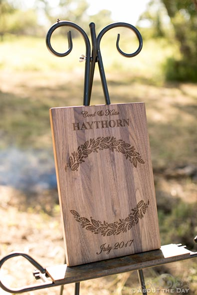 Wooden Wedding plack for fire branding