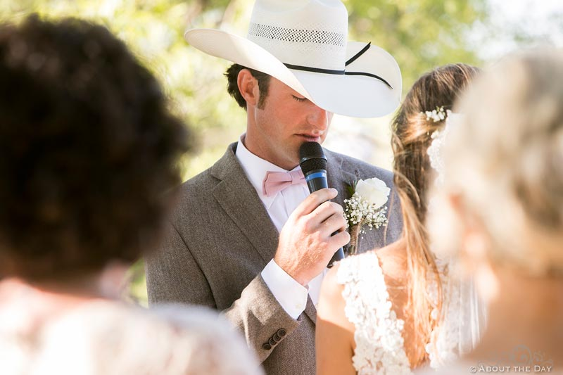 Cowboy Groom says vows to Bride during wedding