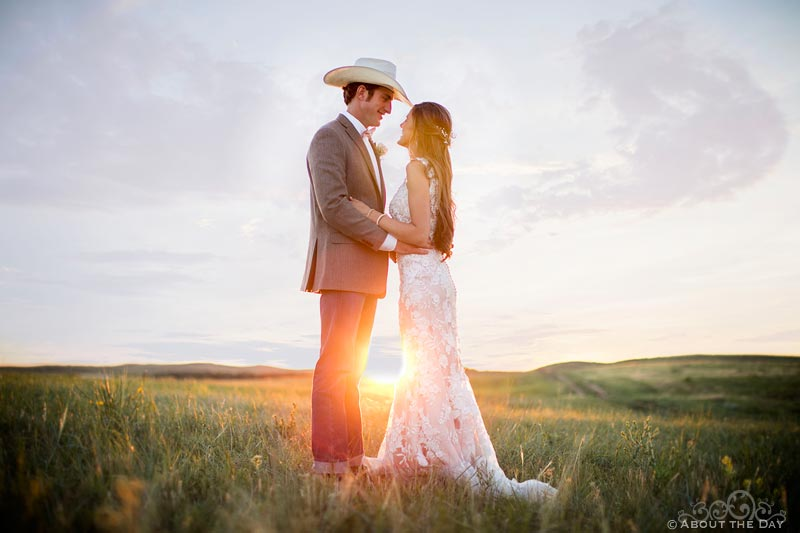 Bride and Groom looking into each others eyes during sunset at Haythorn Land & Cattle Co