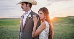 Bride and Groom at sunset at Haythorn Land & Cattle Co.