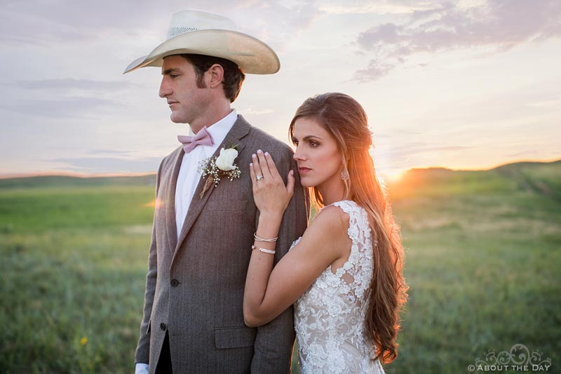 Dramatic bridal portrait during sunset at Haythorn Land & Cattle Co