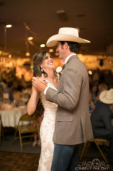Beautiful Bride and Groom's first dance at Haythorn Land & Cattle Co