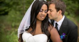 Wedding couple closeup in Wisconsin