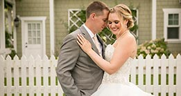 Bride and Groom in a romantic pose at Veranda Beach Resort in Oroville, Washington