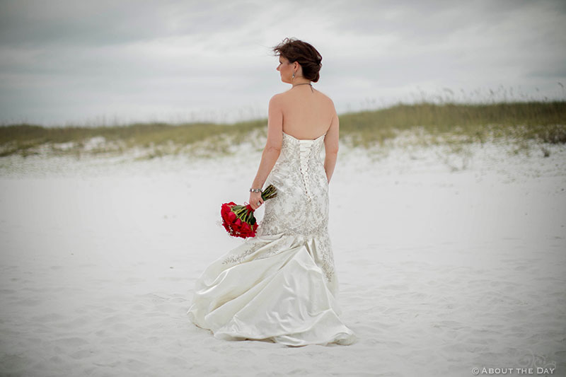Beautiful Bride with red rose boquet looks on in Destin, Fl