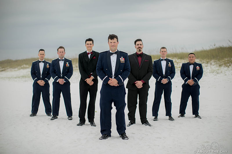 Air Force Groom and his Groomsmen at Princess Beach in Destin, Fl