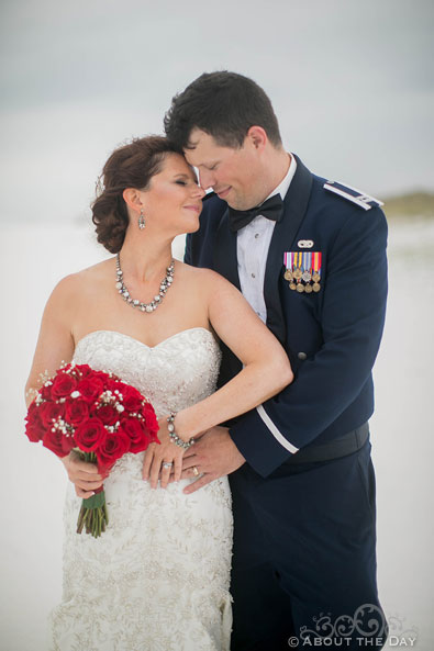 Air Force Groom and lovely Bride at Princess Beach in Destin, Fl