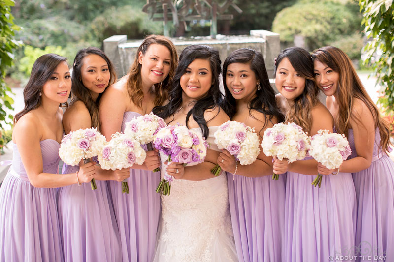 Bride and her Bridesmaids at the Harbor Club in Bellevue Washington
