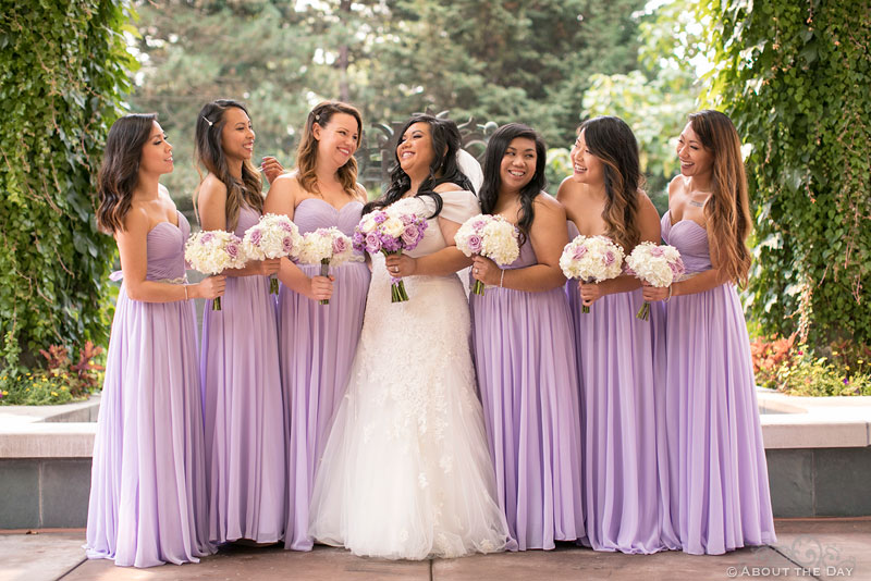 Bride and her Bridesmaids all chatting at the Harbor Club in Bellevue Washington