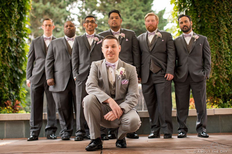 Groom and his Groomsmen at the Harbor Club in Bellevue Washington