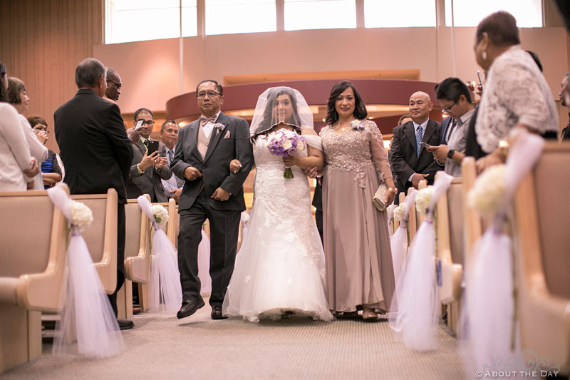 Father and Mother walk Bride down the Isle at St. Stephen the Martyr Catholic Church