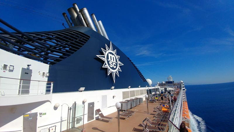 A view of the MSC Musica's top deck
