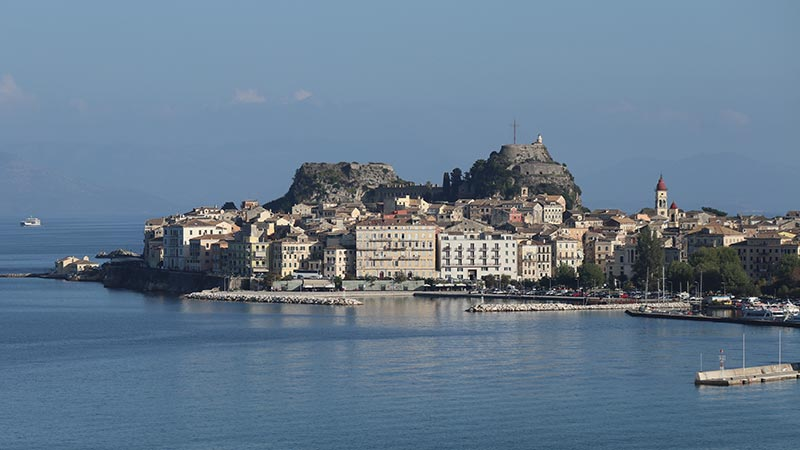 Seeing Corfu from our top deck of the ship