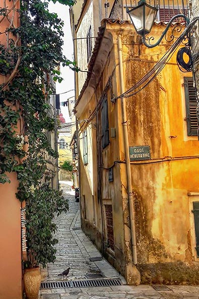 Looking down one of Corfu's many tiny alleyways