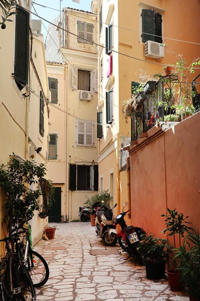A small residential street in Corfu
