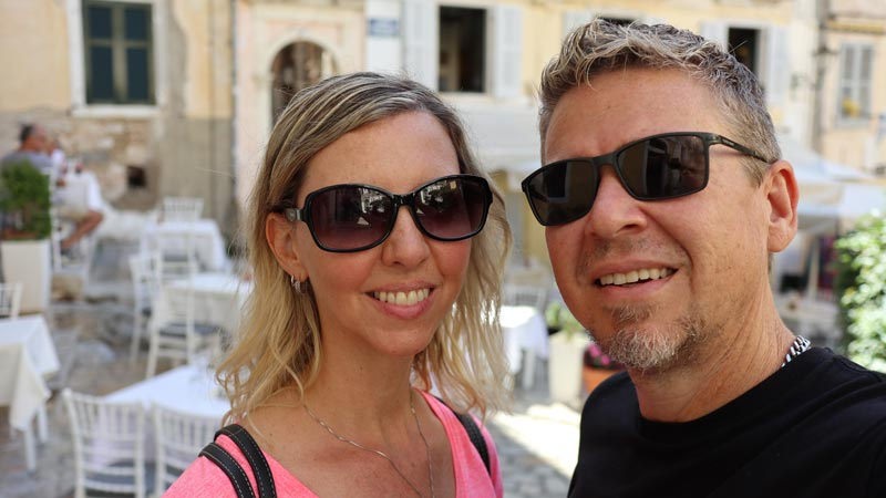 Stephen and Sonia on the streets of Corfu, Greece