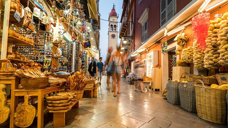The busy markets of Corfu, Greece