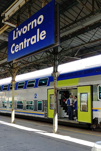 Getting off the train from Pisa in Livorno