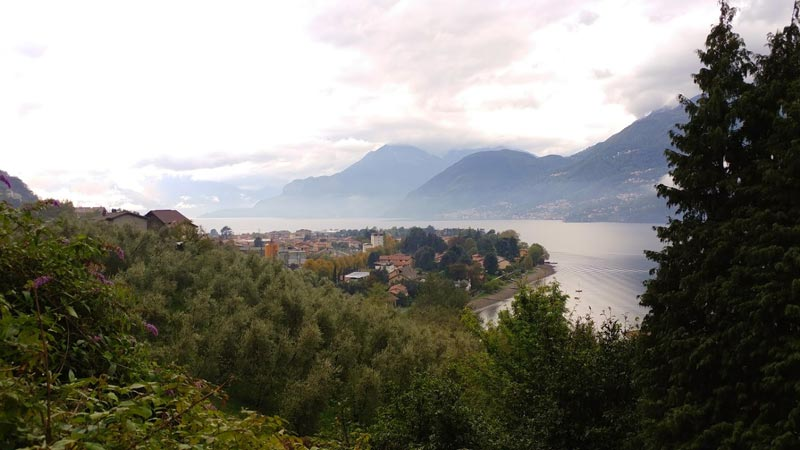 Looking out over a rainy Lake Como