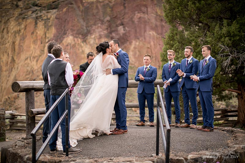 HannahShae and Connor kiss during ceremony at Smith Rock