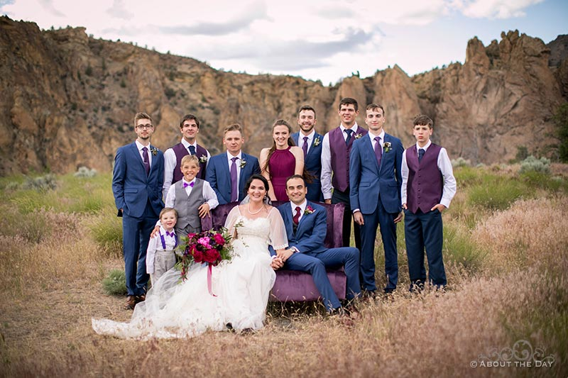 HannahShae & Connor and their wedding party at Smith Rock