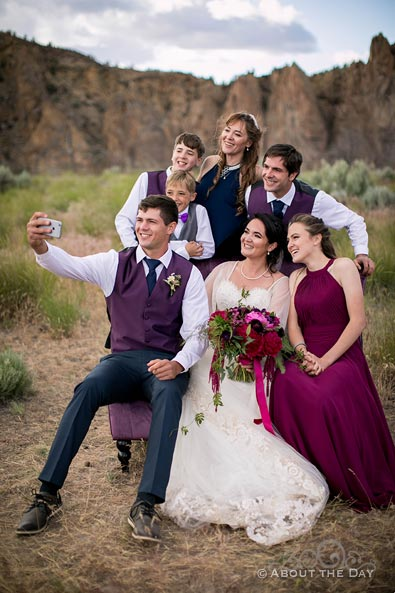 Wedding Party Selfie at Smith Rock