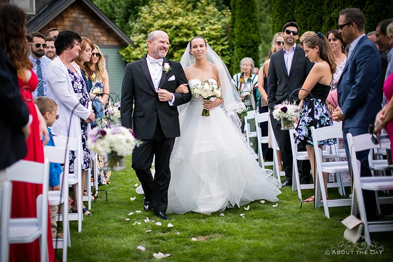 Tori's father walks her down the isle at Green Gates At Flowing Lake