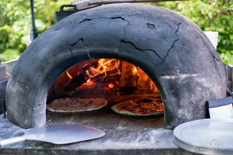 A wedding with real fire oven pizza