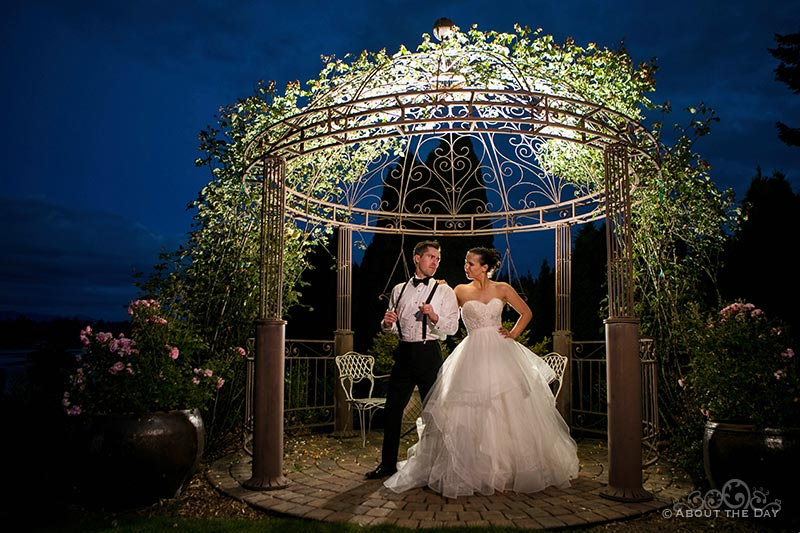 Bride and Groom with drama lighting at Green Gates at Flowing Lake