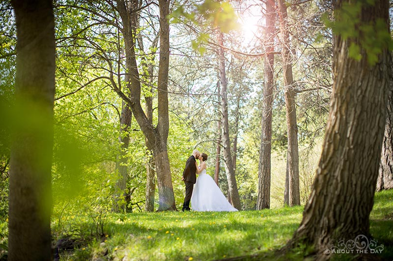 Bride & Groom kiss in the forest of Canon Park