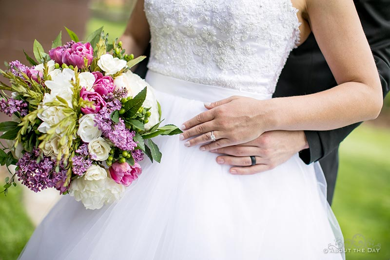 Close up view of rings and flowers