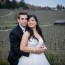Bride & Groom cuddle in fading light at Zenith Vineyards
