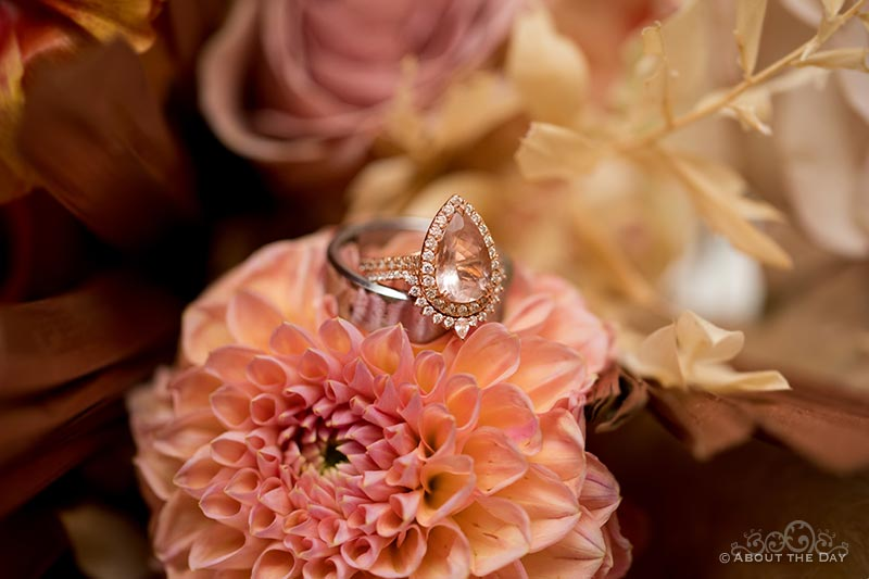 The wedding ring in the wedding flowers