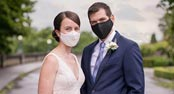 David & Vanessa wear their Covid-19 wedding masks